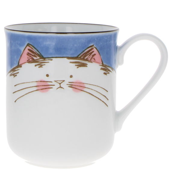 """""""Blue cat"""" Japanese teacup with handle"""