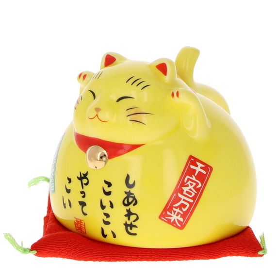 Maneki neko cup yellow