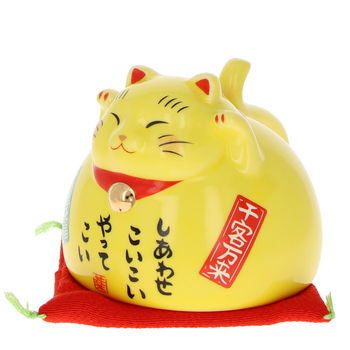 Maneki Neko reversible tea cup - Yellow