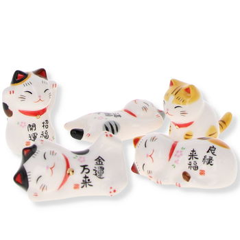 "5 Chopsticks rests ""Maneki Neko"" set"
