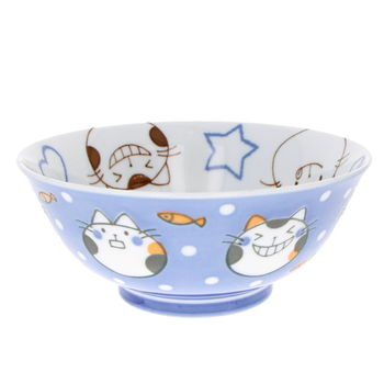 """Blue cat"" japanese ramen bowl for child"