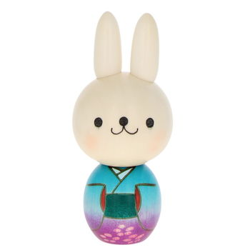"""Blue rabbit"" Kokeshi 14.5cm"
