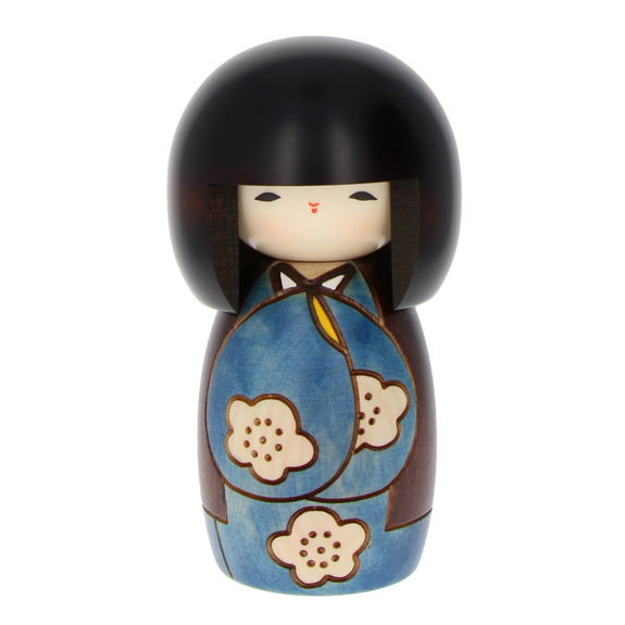 """""""Have a nice day"""" Blue Kokeshi 14cm"""