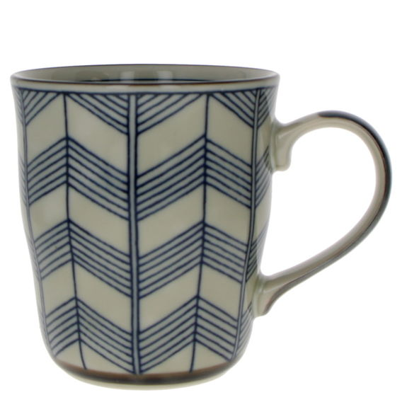 """Old times Japan """"lines"""" teacup with handle"""