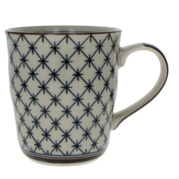 """Old times Japan """"grid"""" teacup with handle"""