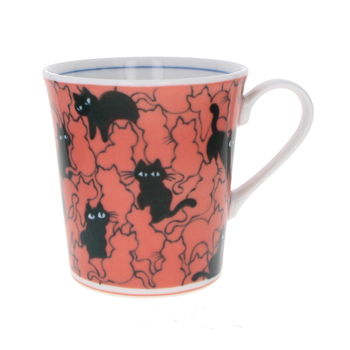 """Black cats"" Japanese red teacup with handle"