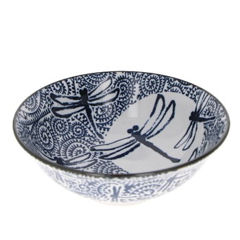 Bowl for ramen noodles with dragonfly & moon