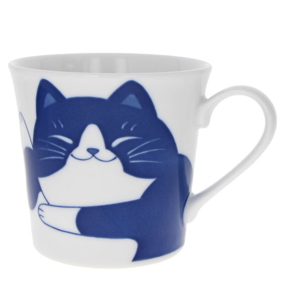 """Lazy cat"" Japanese teacup with handle"