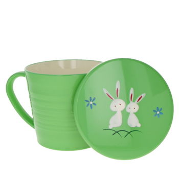 """""""Rabbits"""" Japanese teacup with handle & lid - Green"""