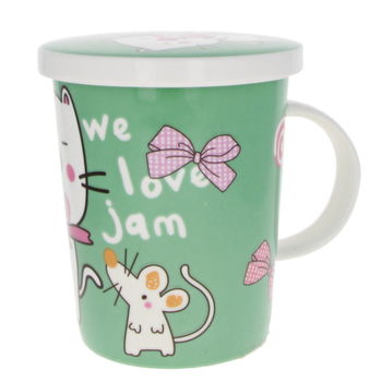 """""""Cat & mouse"""" teacup with filter & lid"""