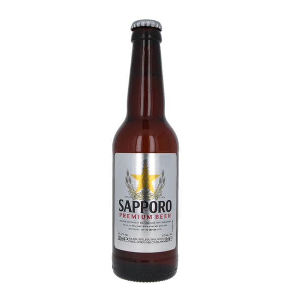 """Sapporo Beer """"Lager"""" en bouteille 4.7% 33cl"""