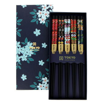Chopsticks 5 pairs gift set - Traditional Flowers