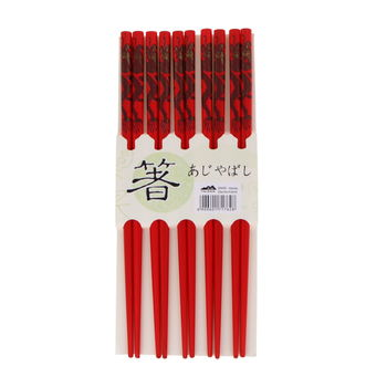 5 pairs of red chopsticks set - golden dragons