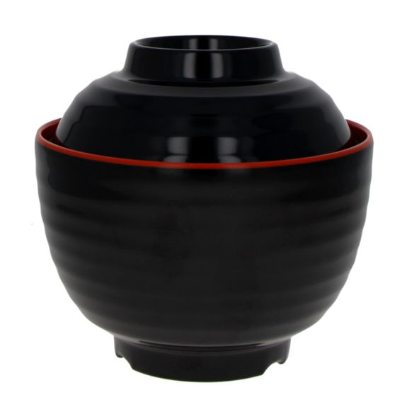 Bowl with lid red and black