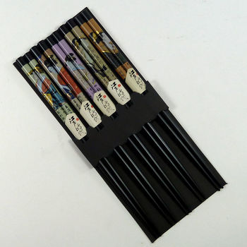 Set of 5 pairs of chopsticks - japanese women