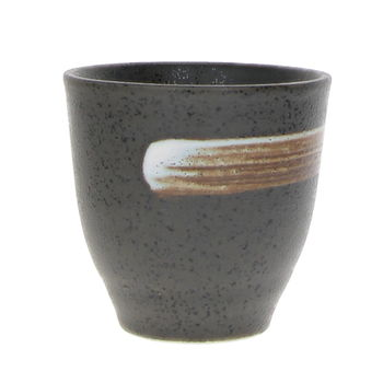 Japanese black tall tea cup with a brown stripe