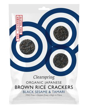 Organic brown rice crackers black sesame 40g