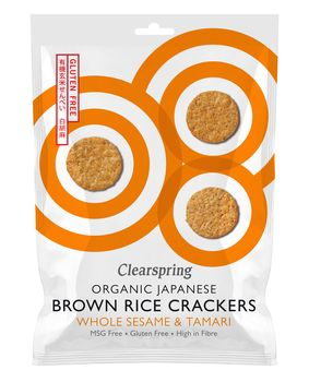 Organic brown rice crackers whole sesame 40g Clearspring