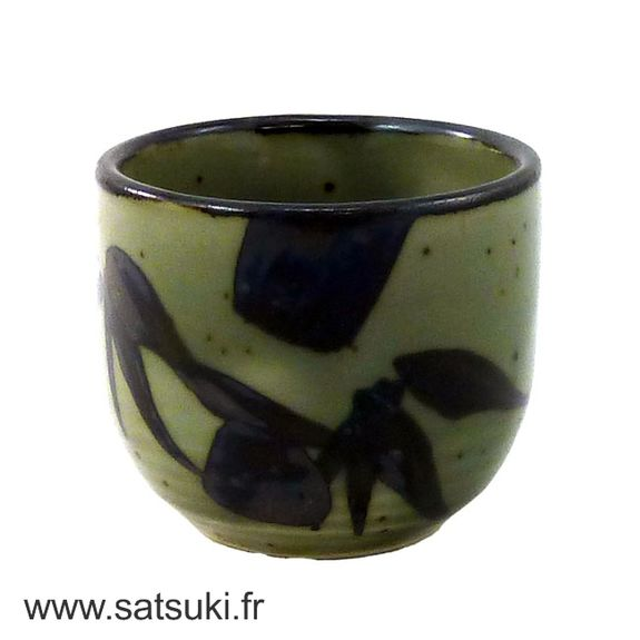 Ochoko (sake cup) gray and green