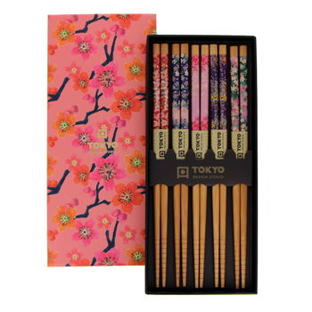 Set 5 paires chopsticks with floral motifs