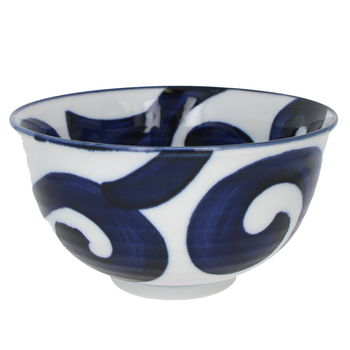 "White bowl for Donburi with whirlwind ""Naruto"" 16cm  x 8.8cm"