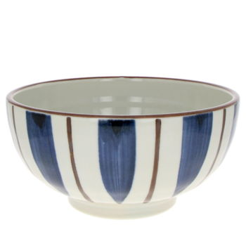 White bowl for Donburi & Udon with stripes 17cm x 8.3cm