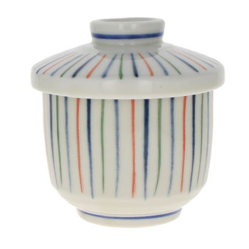 Bowl and lid for Chawan Mushi - 3 colors stripes