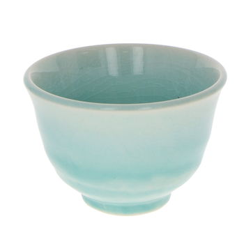 Japanese wide tea cup - green blue 9.8cm x 6.8cm