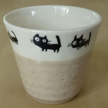 "Tall mug like coffe or tea cup ""Black cats"" - Beige"