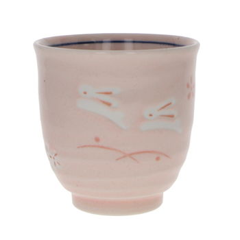 "Japanese tall tea cup ""pink and rabbits"""