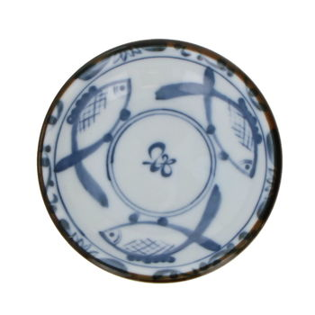 Small round soy saucer cup - 3 fishes