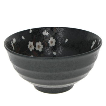 "Black bowl for Donburi with ""Sakura"" 16.8cm x 8.5cm"