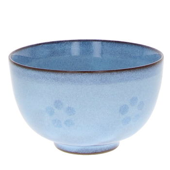 Blue wide tea cup with ume flower 8.5cm x 5.4cm