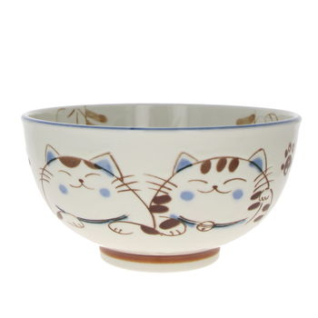 "Bowl for for Donburi  "" Mike cat"" - Blue 16cm x 8.5cm"