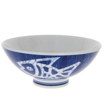 "Japanese blue rice bowl ""white fish"" 12cm x 5cm"