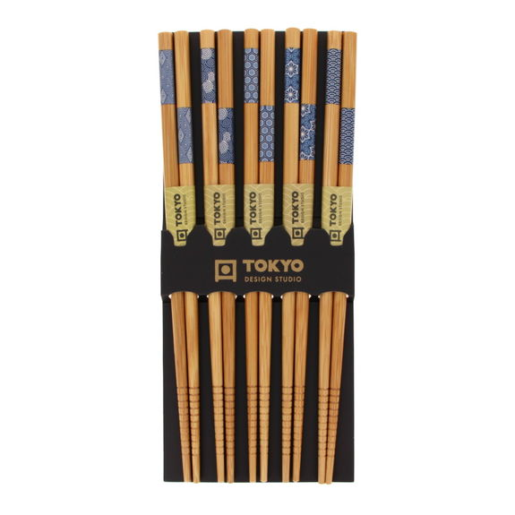 Set of 5 chopsticks pairs white & blue