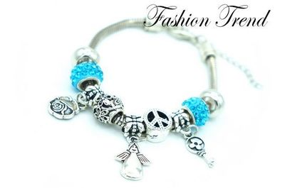 Bracelet ange charms strass turquoises