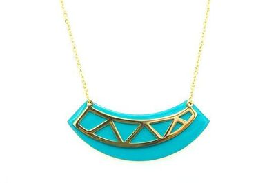 Collier Acier triangles fond turquoise