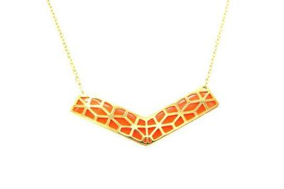 Collier Acier chevron doré fond orange