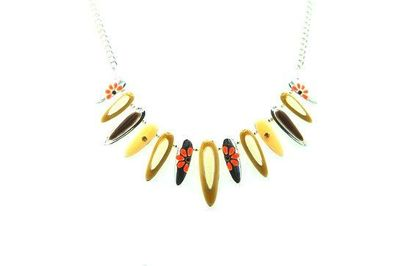 Collier ellipses marron fleuries
