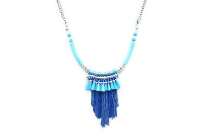Collier arc turquoise chainettes bleues perles