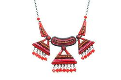 Collier trio triangles perles rouges
