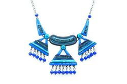 Collier triangles bleus perles tombantes
