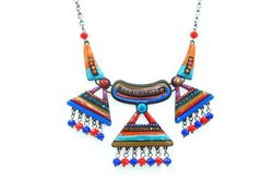 Collier triangles perlés multicolores