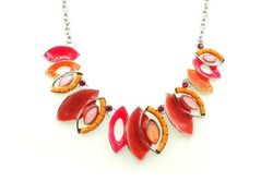 Collier amandes rouges perles orange