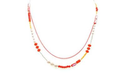 Collier IKITA 2 rangs chaine perles rouges