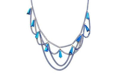 Collier IKITA multiples chaines bleues perles