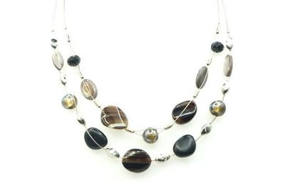 Collier IKITA perles ovales gris noires cables
