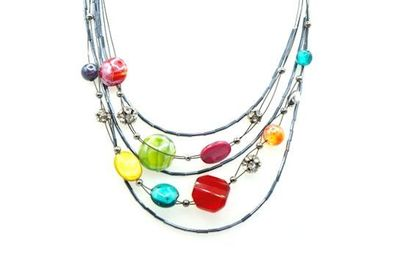 Collier IKITA perles multicolores cables