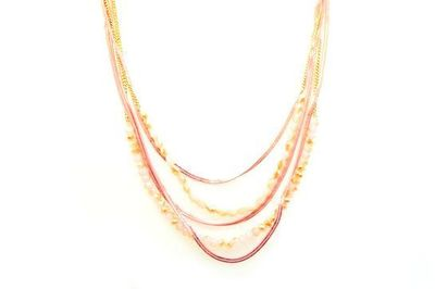 Collier IKITA chaines dorées rose perles